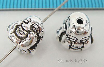 1x BALI OXIDIZED STERLING SILVER BUDDHA FACE HEAD SPACER BEAD 8.6mm #2163