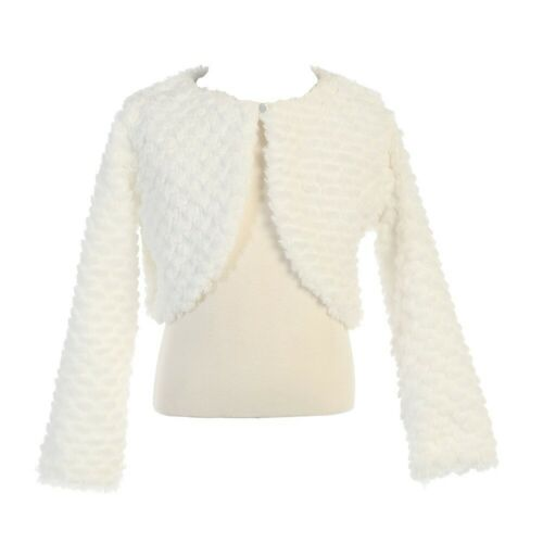 Lito Little Girls White Faux Fur Soft Swirl Long Sleeved Stylish Bolero 2T-5