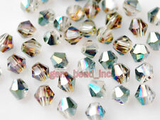 Whsle 100pcs Shiny Glass Crystal Faceted Beads 4mm Spacer Findings Hot Colorized