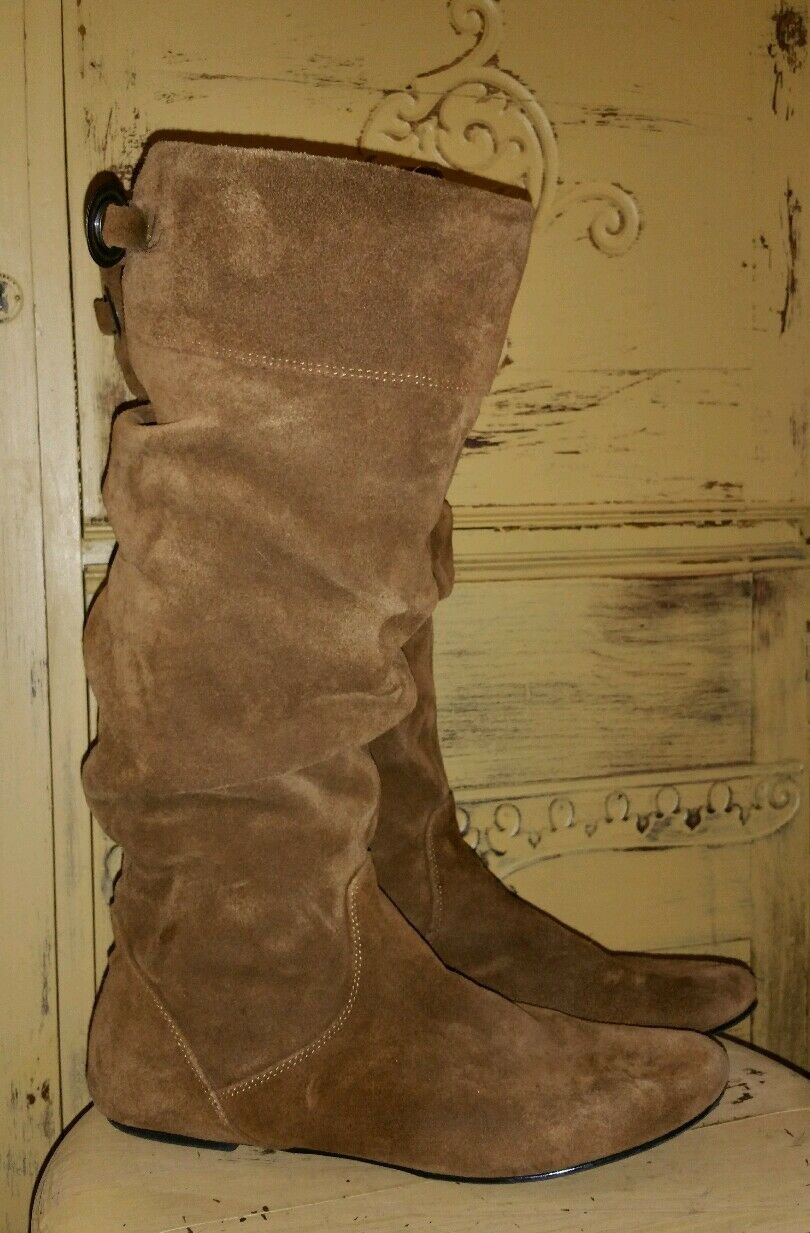 STEVE MADDEN P-TARZAN SOFT SUEDE SLOUCHY TALL RIDING Stiefel BROWN 9.5 M PIXIE