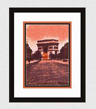 """Funky Original POL BURY 1971 Color Lithograph """"The Arc de Triomphe"""" FRAMED COA"""