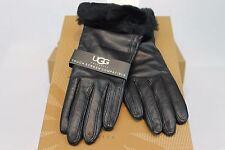 Ugg Australia Classic Leather Black Smart Tech Gloves Cashmere Blend Size M