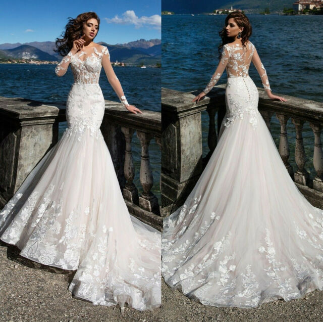 Sheer Bodice Long Sleeve Wedding Dresses Lace Applique Tulle Mermaid Bridal Gown