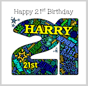 Personalised 21st Birthday Card Homme fils frère Neveu petit-fils Cousin tout