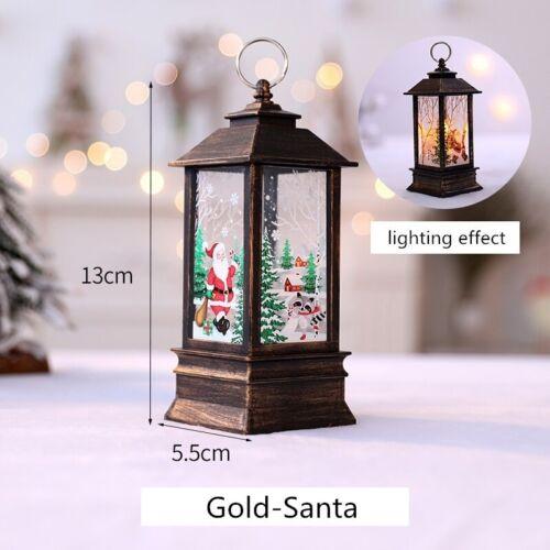 Christmas Santa Claus Snowman Deer Flame Lights Lamp Hanging Lantern Ornament