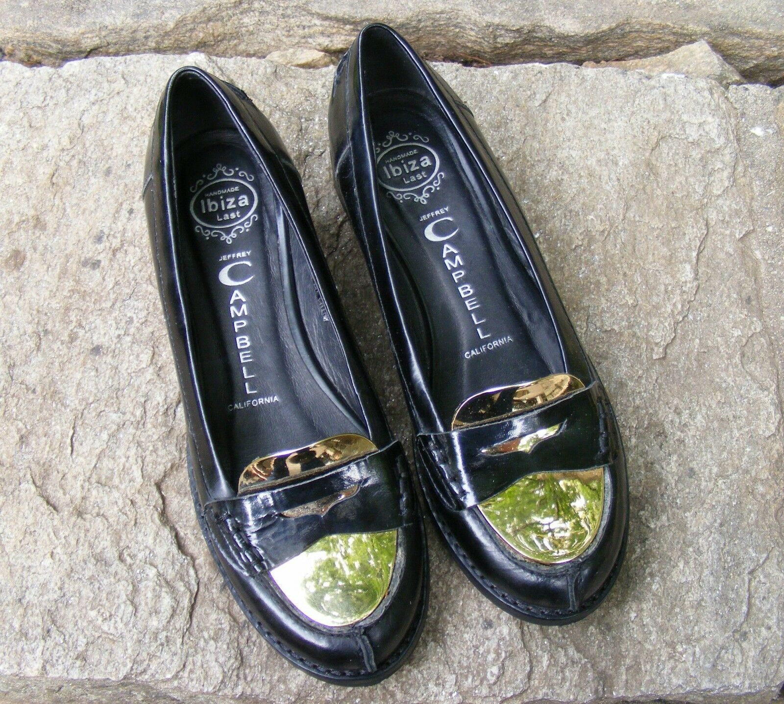 JEFFREY CAMPBELL org  175 Black Leather Loafer shoes w Brass - Size 6 - New