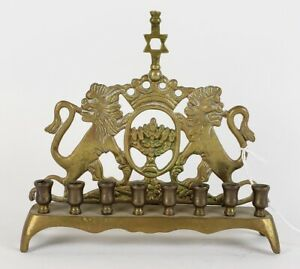 Vintage-Brass-Menorah-Lion-Hanukkah-Chanukah-Cnadle-Holder-Star-of-David-Wall