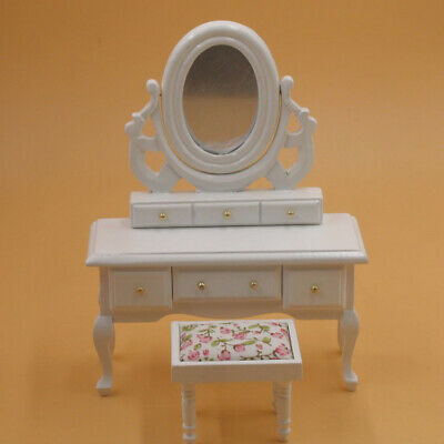 1:12 Dollhouse Miniature White Wooden Makeup Dressing Table Bedroom