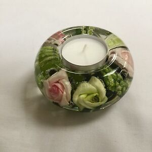 GLASS-CANDLE-HOLDER-HAND-MADE-FLORAL-DESIGN-GREEN