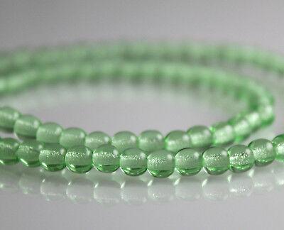 100 4mm Round Pressed Czech Glass Druk Beads Peridot Green