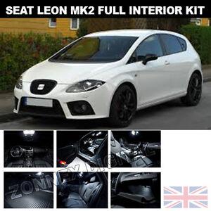 SEAT LEON II MK2 ERROR FREE INTERIOR CAR LED LIGHT BULBS KIT - XENON ...