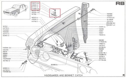 Front Wing Montage Clips FORD ZEPHYR ZODIAC MK4 Mudgaurd Fender Trim Boulons Écrous