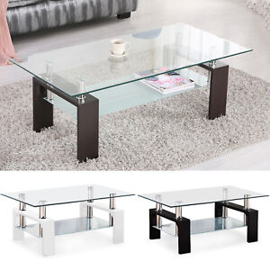 Modern Glass Chrome Wood Coffee Table Shelf Rectangular Living Room ...