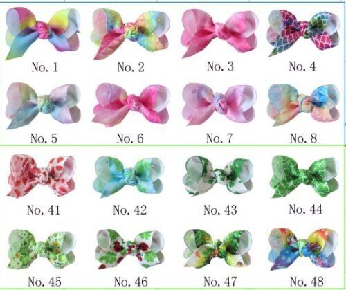 """200 BLESSING Girl 2.5/""""  Diamond Rainbow ABC Hair Bow Clip Unicorn Clover Fruit"""