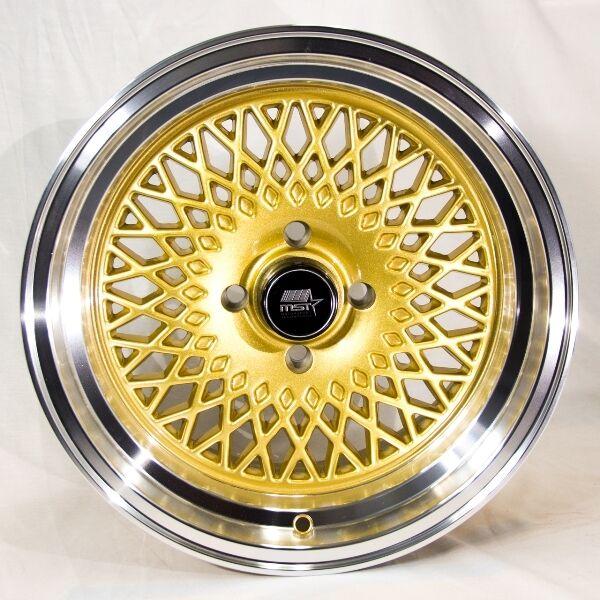 MST MT05 15x8 4x100 et20 Gold Wheels Rims Fits Civic Ef Ek Eg Miata Mr2