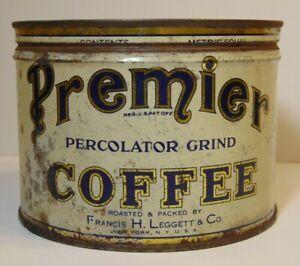 Old Vintage 1940s PREMIER COFFEE KEYWIND COFFEE TIN ONE POUND NEW YORK LEGGETT
