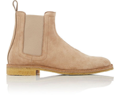MEN HANDMADE GENUINE SUEDE LEATHER SHOES BEIGE CHELSEA CASUAL BOOTS