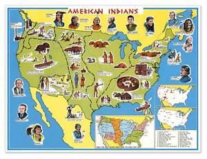 Native American Indian Educational Usa Wall Map Circa 1950 24 X