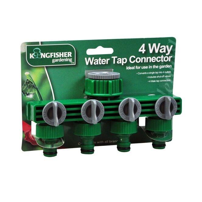 4 Weg Garten Wasserhahn Verbindung Splitter Absperrventil 1 zu 4 Wasserschlauch