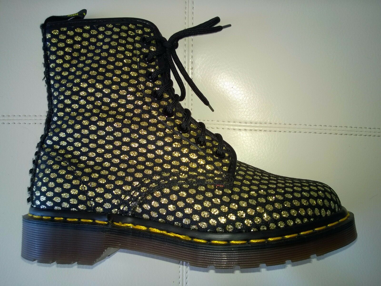 DOC DR. MARTENS gold GLITTER OVAL PATTERN BOOTS RARE VINTAGE MADE IN ENGLAND 5UK