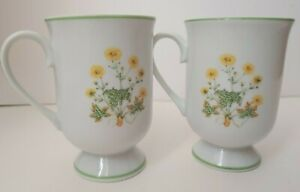 Set-Of-2-Vintage-Sunrise-Royal-Domino-Japan-Genuine-Porcelain-Pedestal-Cup-Mug