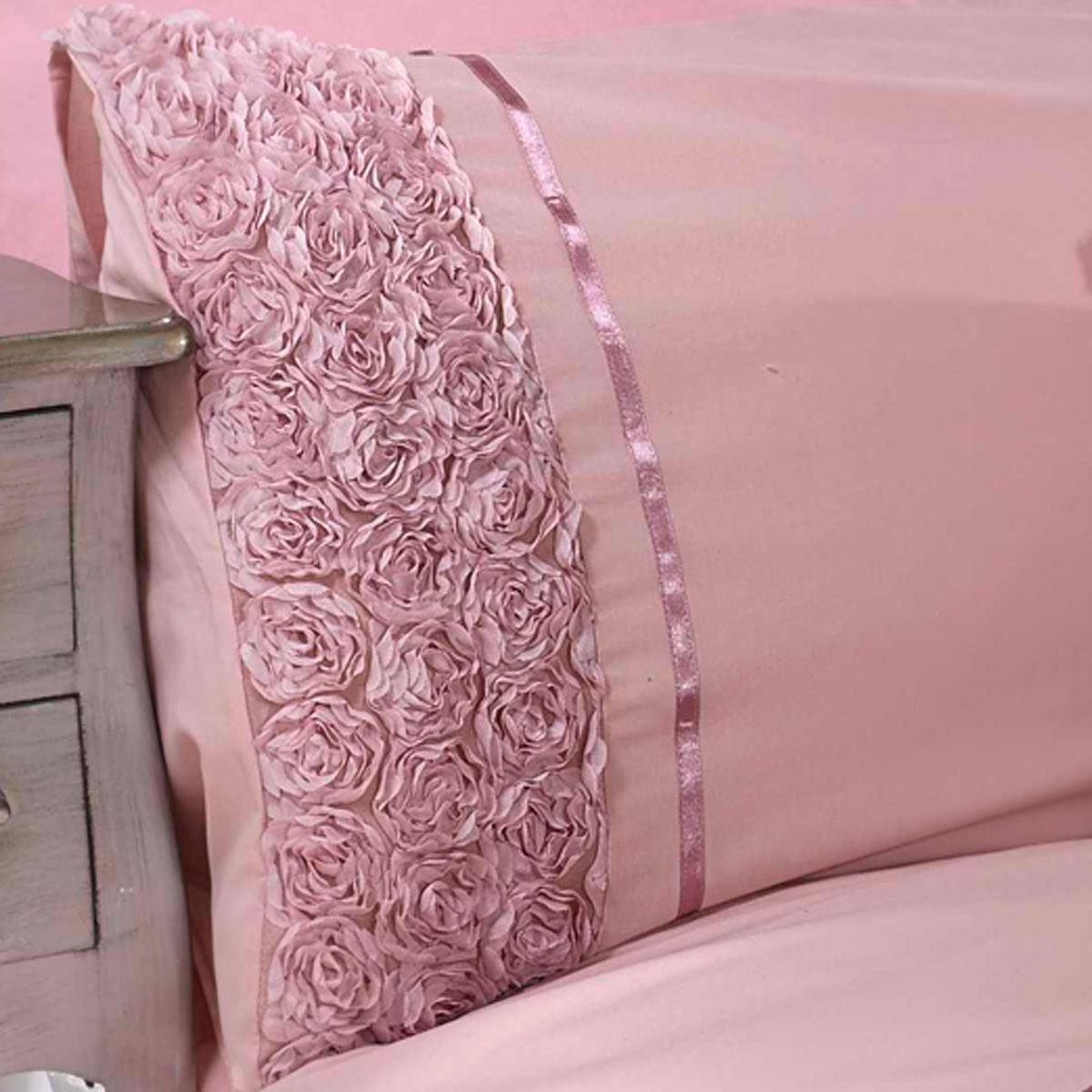 Limoges pink Rüsche Einzelbettbezug Set Luxus Bettwäsche Zartes pink