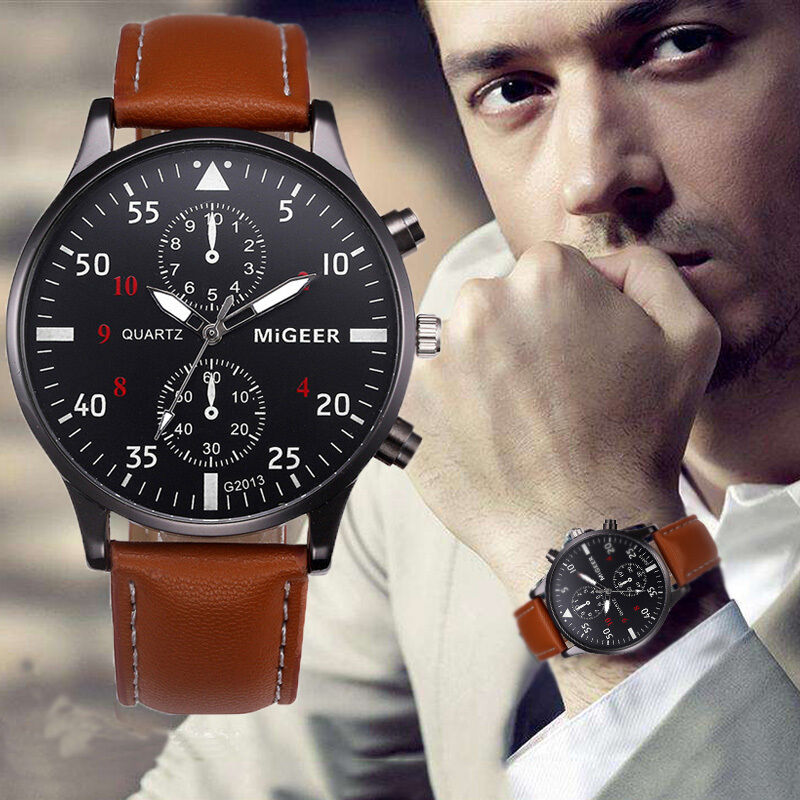 $2.04 - Luxury Mens Stainless Steel Analog Wrist Watch Leather Date Army Quartz Watches