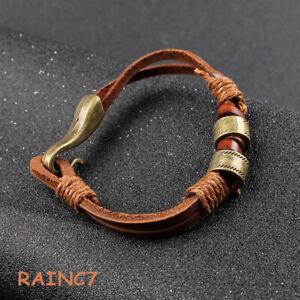 Cords-Mens-Bracelet-Brown-Leather-PU-Wristband-Cuff-Cool-Hemp-Women-Wrap-Surfer