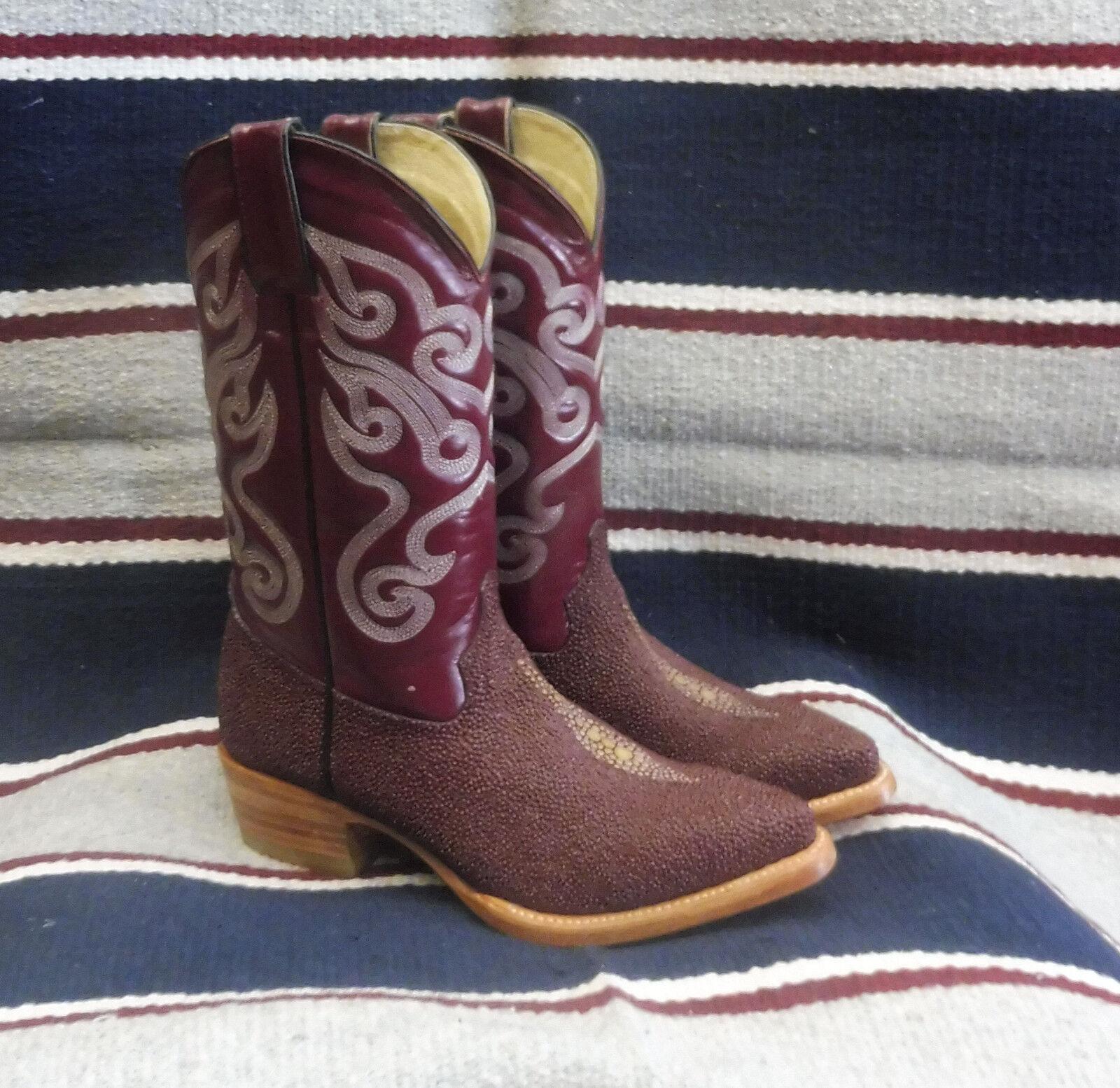 Stivali texani country western cowboy donna dance esotico bordeaux 35.5 e 36