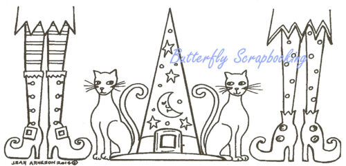 Halloween Witch Cats /& Witch Hat Wood Mounted Rubber Stamp NORTHWOODS O9584 New