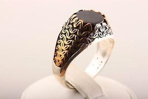 Orient-Turkish-Jewelry-Onyx-Gemstone-925-Sterling-Silver-Men-039-s-Ring-Size-12