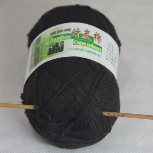 Venta 50g 1 Bola Suave Natural Bambú Algodón Hilo Tejer Chal Envolvente 913 Marrón