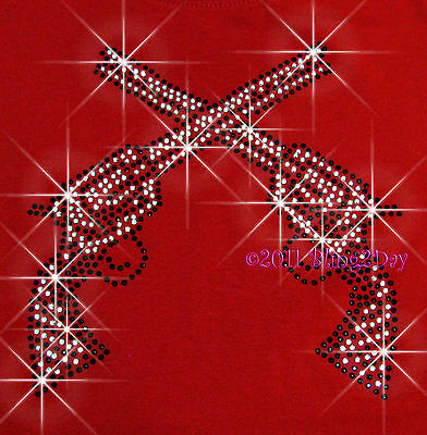 CROSSED DUAL GUNS RHINESTONE IRON ON TRANSFER BLING HOT