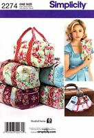 Simplicity Sewing Pattern 2274 Bags Clutch Overnight Bag Luggage Tag