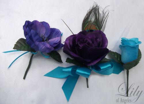 17pcs Wedding Bridal Bouquet Flower Decoration PEACOCK Feathers PURPLE TURQUOISE