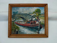 Oil on Board - Canal painting by L. J. West.