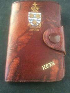Vintage-Brown-Leather-Wallet-Key-Case-Holder-Gilded-Gilt-WHITBY-Coat-of-Arms