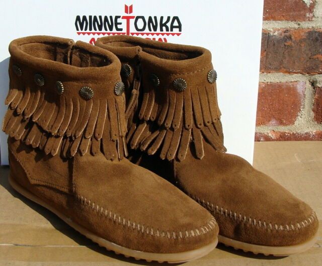 Minnetonka Double Fringe Side Zip Womens 693 Dusty Brown BOOTS Shoes ... dec3d8cb56b4