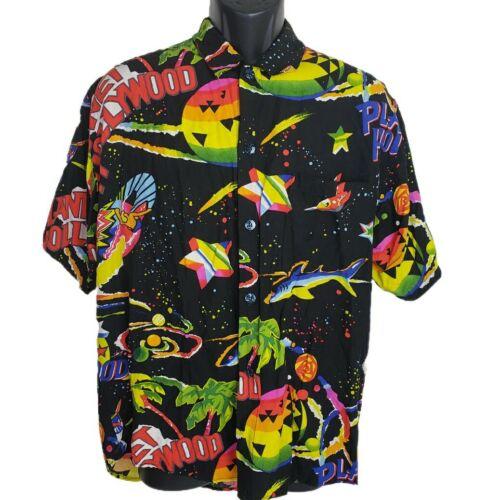 Vintage Planet Hollywood Hawaiian Shirt Black Larg