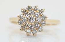 Beautiful 14K Yellow Gold .50 TCW Diamond Cluster/Cocktail Ring 1/2 Ct.
