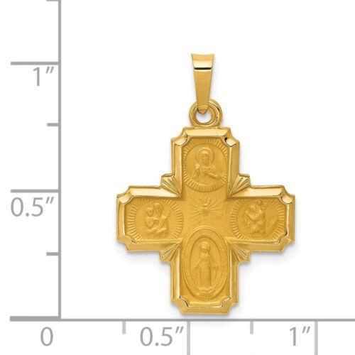 14K Or Jaune Poli /& Finition satinée quatre chemin croix médaille religieuse pendentif