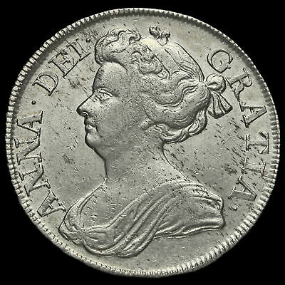 1712 Queen Anne Early Milled Silver Half Crown, VF