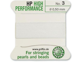 FT799 HP HIGH PERFORMANCE WHITE SILK STRINGING THREAD 0.50mm GRIFFIN SIZE 3