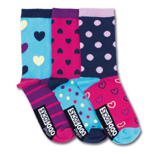 Socken Oddsocks Nancy in 37-42 Strümpfe bunt Herzen Punkte drei im 3er Set