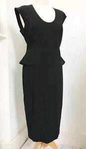 PHASE-EIGHT-Black-Peplum-Zip-Back-Dress-Size-14-BNWT-Office-Smart-Formal