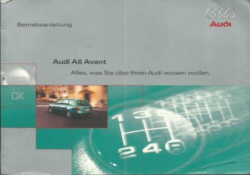 AUDI a6 Avant c5 manuale di istruzioni 1998 MANUALE MANUALE 4b BA