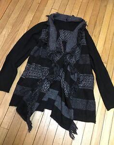 Fairisle Pull laine L Flyaway Cardigan Noir 185 en Gris XL franges à Tunique Nydj xa4RqfZw04