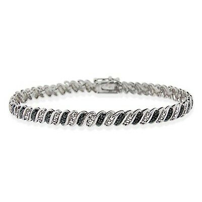 925 Sterling Silver Black Diamond Accent San Marco Bracelet