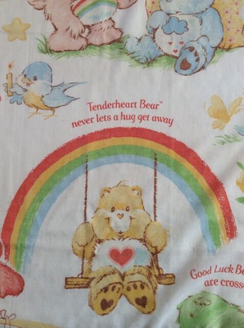Vtg Care Bears Fitted Twin Sheet Fabric Cutter Sayings