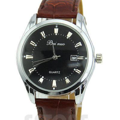 Vintage Stainless Steel Calendar Dial Leather Men's Business Quartz Wrist Watch